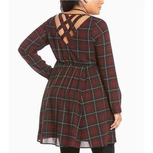 🆕Torrid- Perfect Fall Plaid Criss Cross Dress